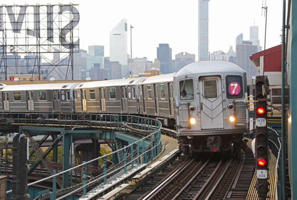 NYC MTA subway train on Line 7 in Queens